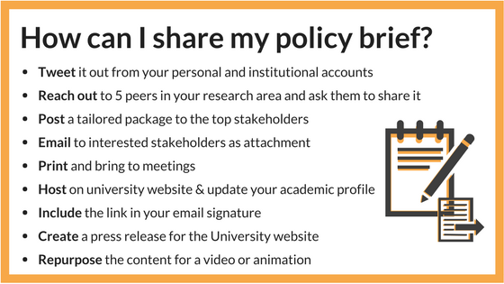 Ways to share policy brief outside academia