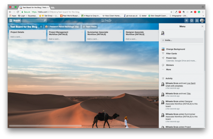 Trello to communicate research