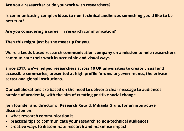 Organising a meetup on communicating research