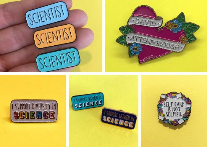 Science Enamel Pins Science on a Postcard