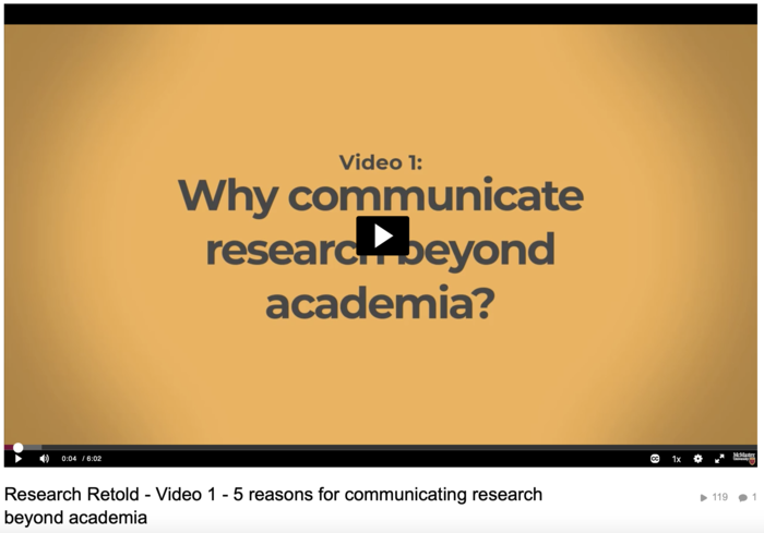 Video on the five reasons to communicate research beyond academia